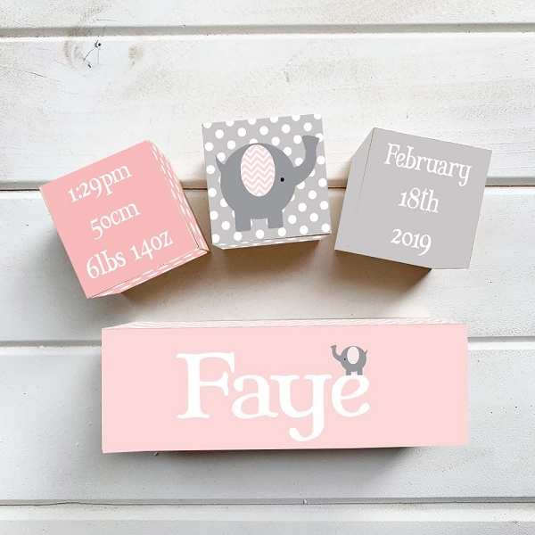 Pink Elephant Wooden Birth Blocks