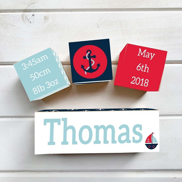 Red Nautical Wooden Birth Block Set