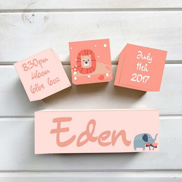 Pink Jungle Wooden Birth Block