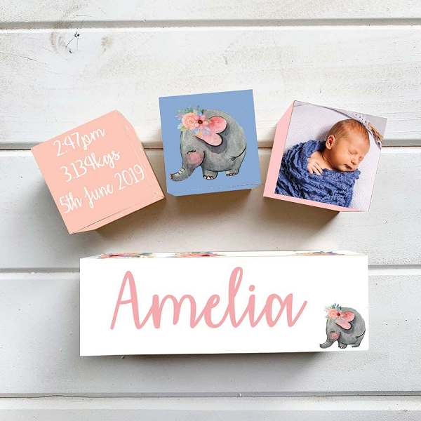 Floral Elephant Wooden Birth Block Set