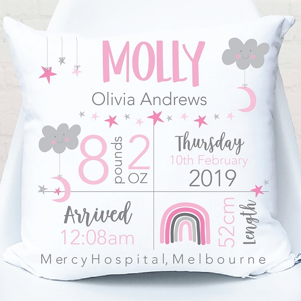 Star and Moon Birth Personalised Cushion