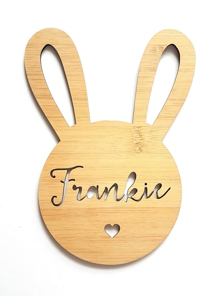 Bunny Rabbit Personalised Bamboo Name Sign