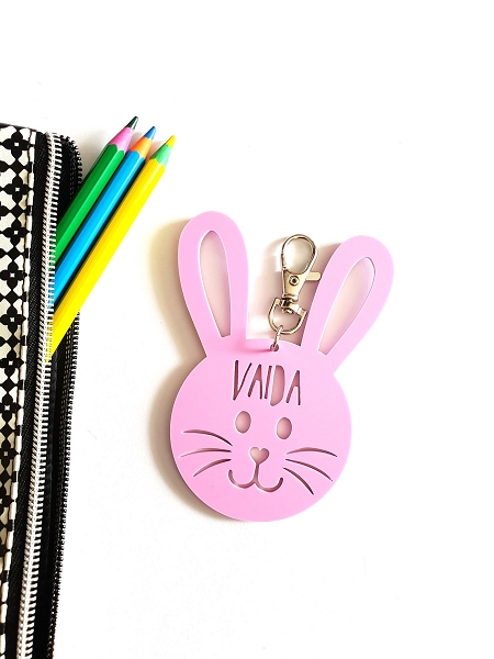 Bunny Rabbit Acrylic Personalised Bag Tag