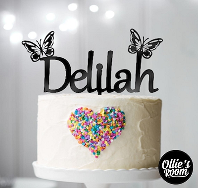 Personalised Name Birthday Cake Topper with Butterflies