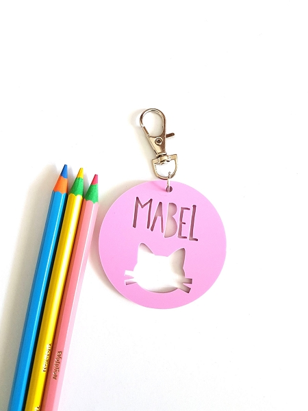 Round Acrylic Cat Personalised Bag Tag