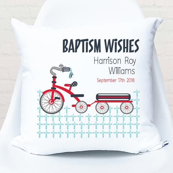 Boys Tricycle Christening/Baptism/Naming Day Personalised Cushion