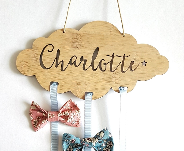 Cloud Personalised Bow Hair Clip Holder