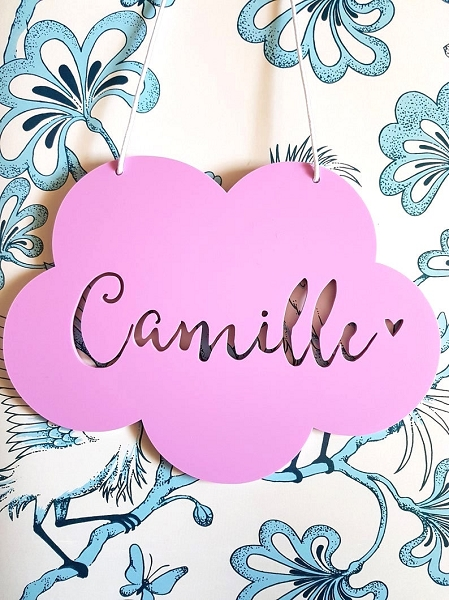 Cloud Personalised Bamboo Name Sign
