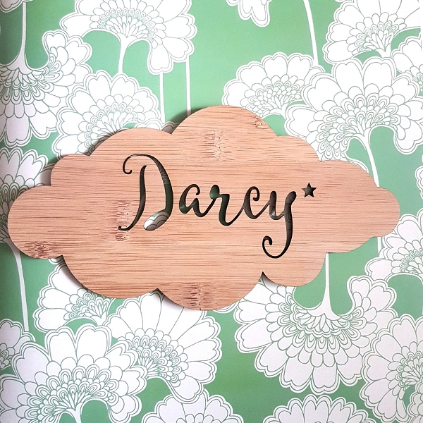 Cloud Long Personalised Bamboo Name Sign