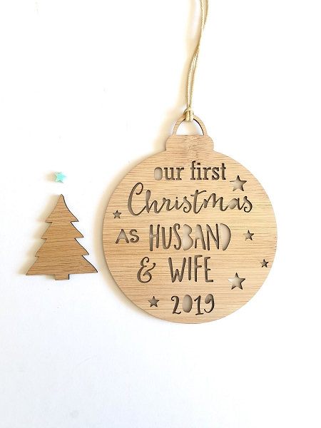First Christmas Husband and Wife Personalised Christmas Ornament