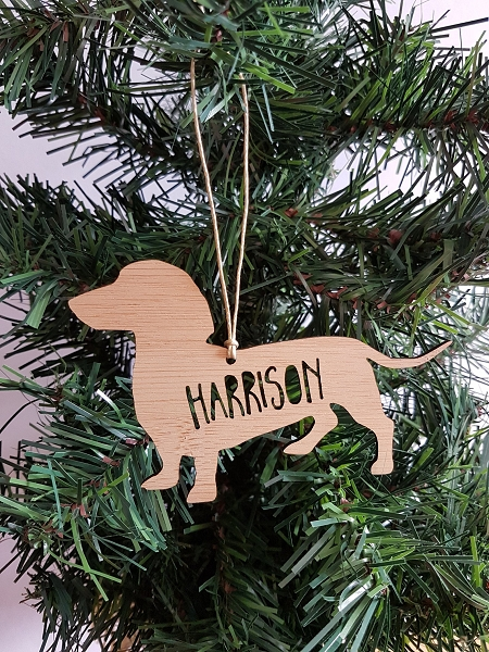 Dachshund Sausage Dog Personalised Christmas Ornament