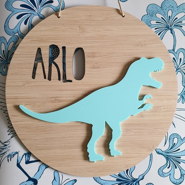 T-REX Personalised Bamboo / Acrylic Name Sign