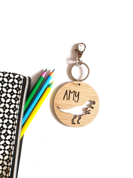 Round T-Rex Dinosaur Bamboo Personalised Bag Tag