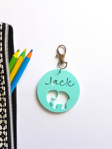 Round Acrylic Elephant Personalised Bag Tag