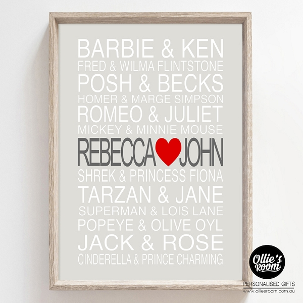 PERSONALISED FAMOUS COUPLES Poster Print