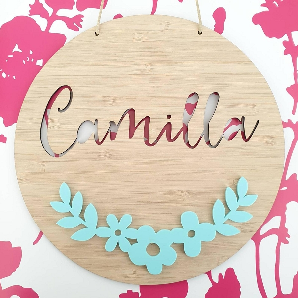 Floral Garland Personalised Bamboo / Acrylic Name Sign