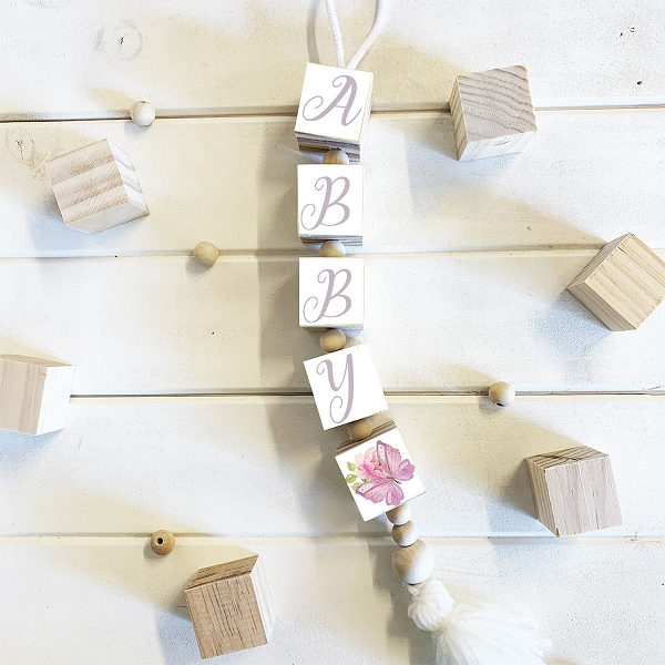 Personalised Hanging Name Blocks - White Butterfly