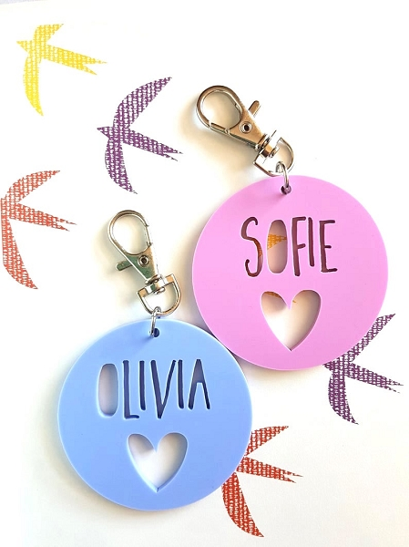 Round Heart Acrylic Personalised Bag Tag