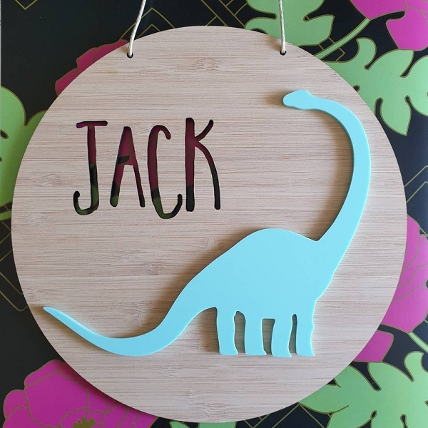 Dinosaur Personalised Bamboo / Acrylic Name Sign
