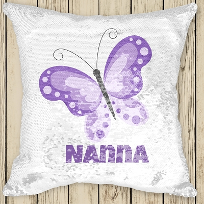 Personalised LILAC BUTTERFLY Sequinned Cushion