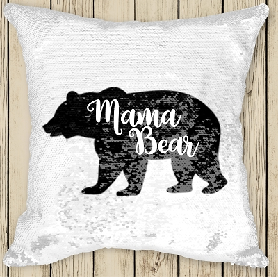 Personalised BEAR Sequinned Cushion
