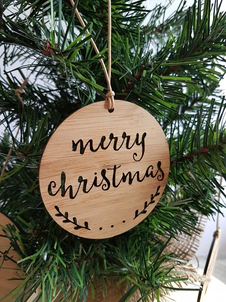 Merry Christmas Bamboo Wall Sign