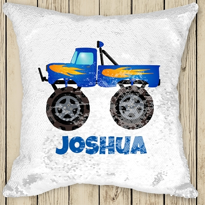 Personalised MONSTER TRUCK Sequinned Cushion