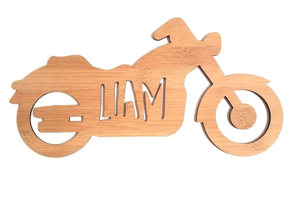 Motorbike Personalised Bamboo Name Sign
