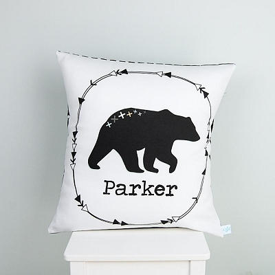 Mountain Bear Monochrome Personalised Cushion