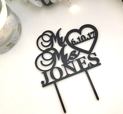Wedding Cake Topper - Mr&Mrs Surname with date in heart