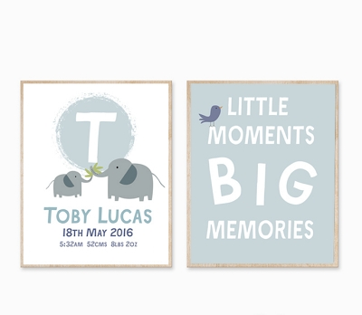 Personalised Birth Print - Elephant big Memories