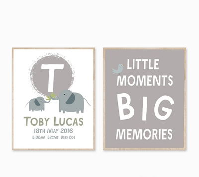 Personalised Birth Print - Elephant big Memories GREY