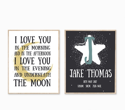 Personalised Birth Print - To the Moon and Back