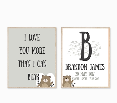 Personalised Birth Print - More Than I Can Bear