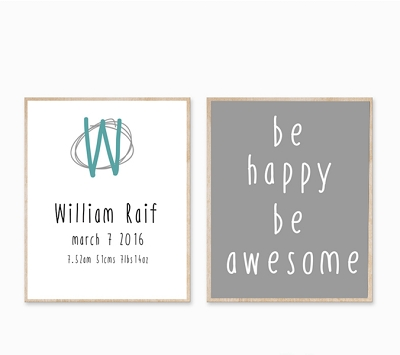 Personalised Birth Print - Boy Be Happy Modern Grey