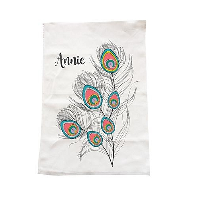 Personalised Peacock Feathers Tea Towel