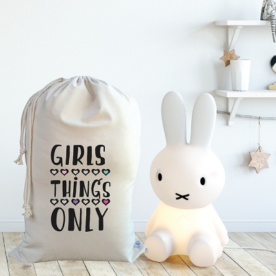 Personalised Drawstring Storage Sack - GIRLS THINGS ONLY