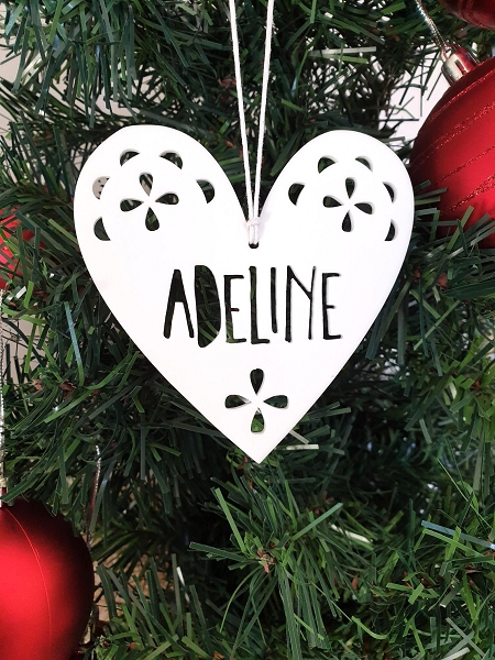 Personalised White Heart Christmas Ornament