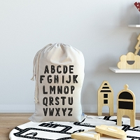 Personalised Drawstring Storage Sack - Alphabet