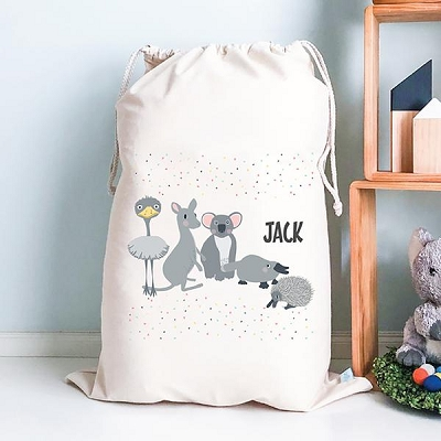Personalised Drawstring Storage Sack - Australian Animals