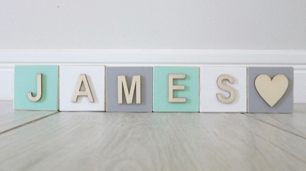 Personalised Blocks - Mint, Grey and White