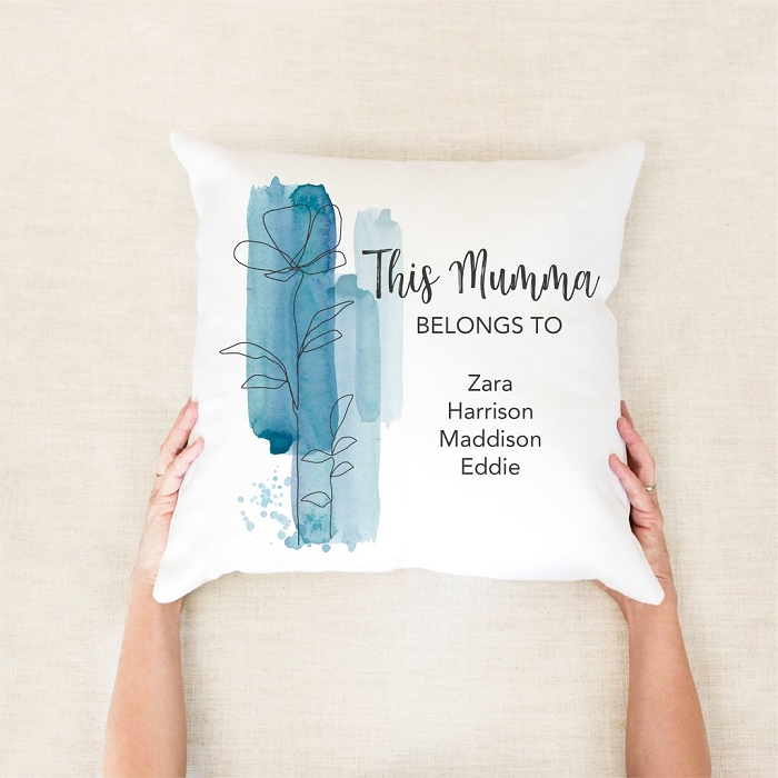 Blue Watercolour This Mumma Belongs To Personalised Mother's Day Cushion