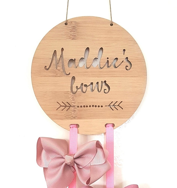 Boho Personalised Bow Hair Clip Holder