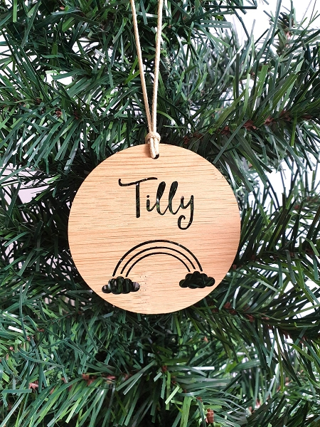 Rainbow Personalised Christmas Ornament