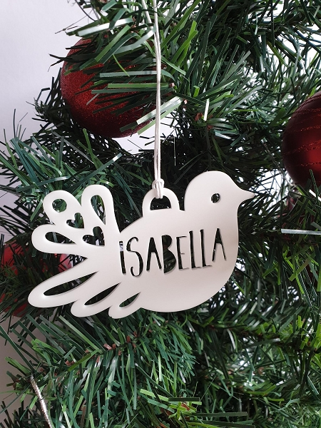 Dove Personalised Christmas Ornament Decoration