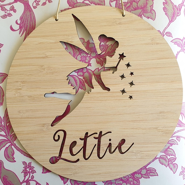 Fairy Personalised Bamboo Name Sign