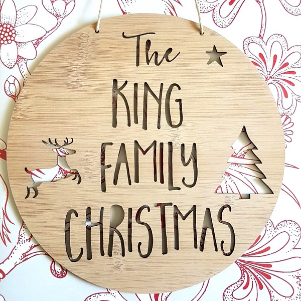 Personalised Family Christmas Bamboo Wall Sign