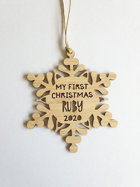 Personalised First Christmas Snowflake Ornament