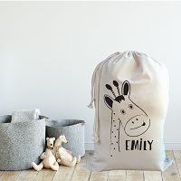 Personalised Drawstring Storage Sack - GIRAFFE