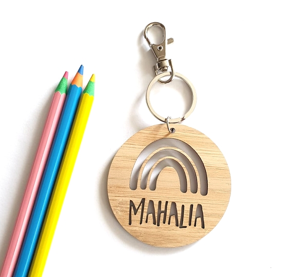 Round Rainbow Note Bamboo Personalised Bag Tag
